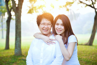 Portrait of Asian elderly mother and daughter, senior adult women and grown child